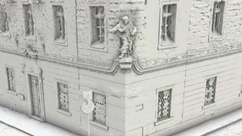 3d model of a building in Prague shot with the Mosaic Viking