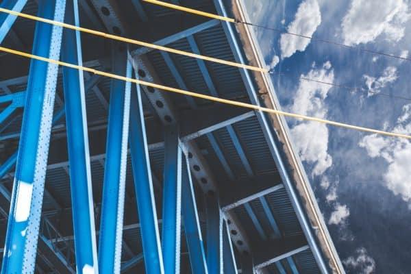 blue metal framed building, gis infrastructure surveying
