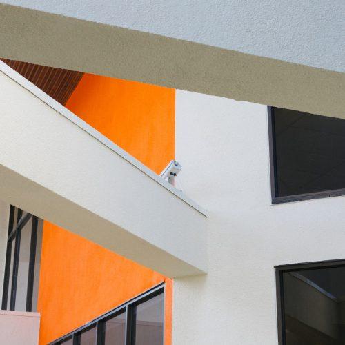 orange and white concrete building