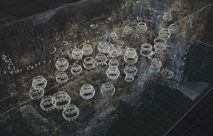 photo by Jeffrey Martin of a sparse point cloud and camera positions