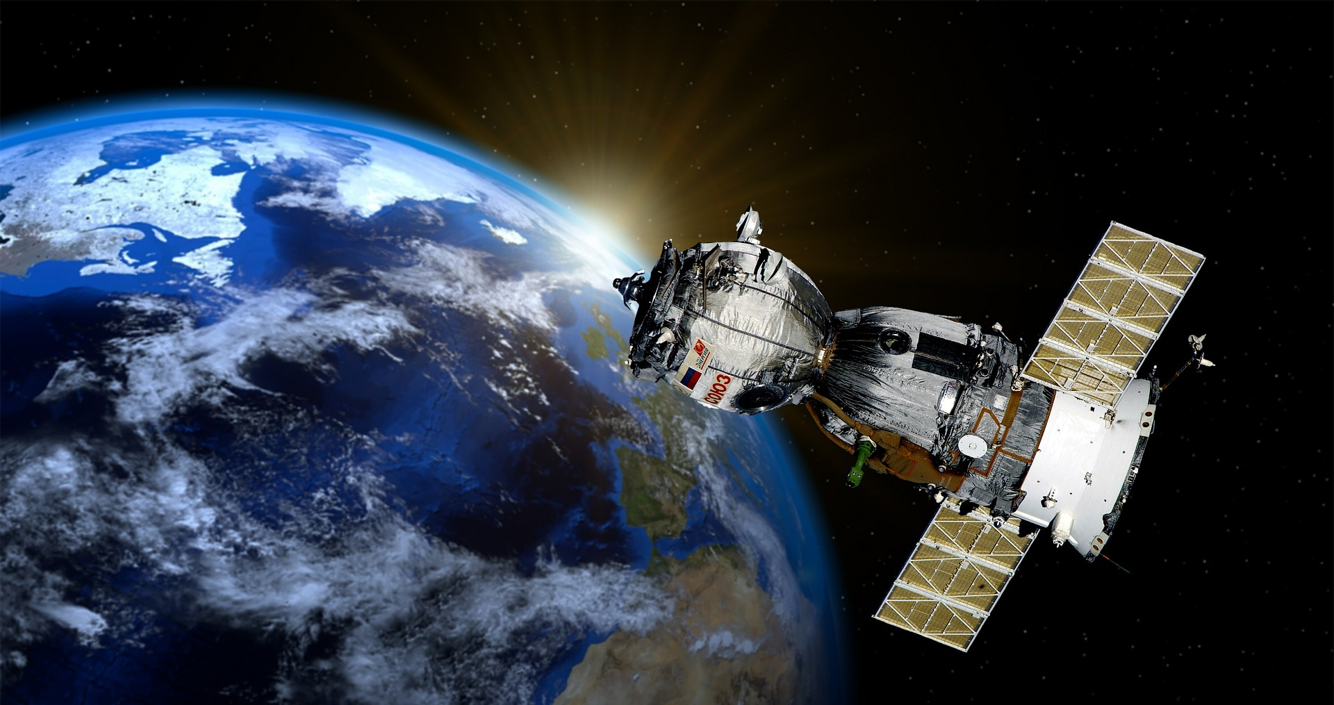 A satellite above Earth helps with GPS accuracy.