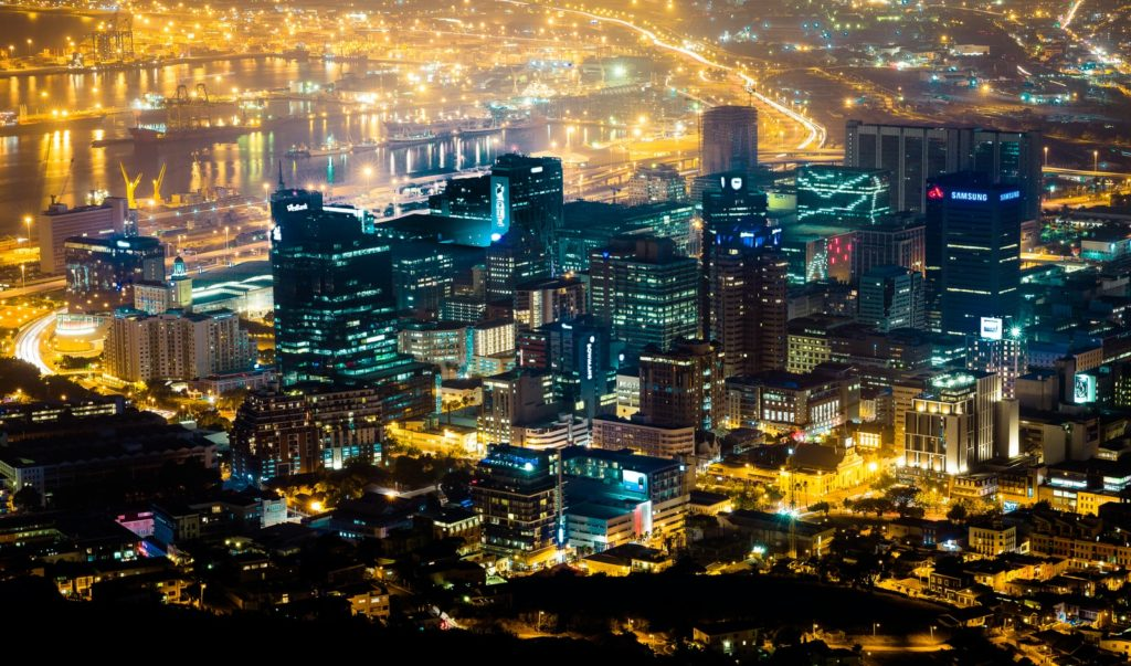 aerial photography of city skyline during nighttime