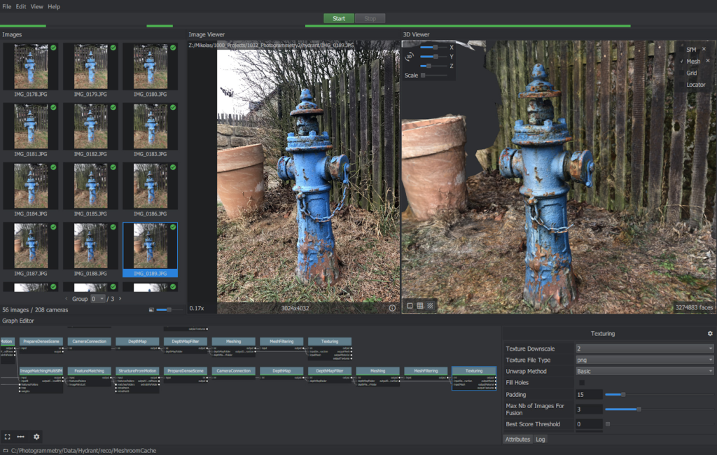 A view of blue fire hydrants within Meshroom, a free, open-source photogrammetry software from AliceVIsion.